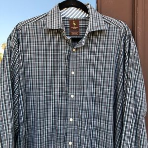 Tailorbyrd Green/Grey Plaid Dress Shirt XXL
